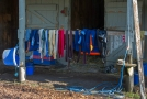 2o6a1662 Wraps and cloths. All equipment used is washed, cleaned, and put out to dry each day. Colorful.