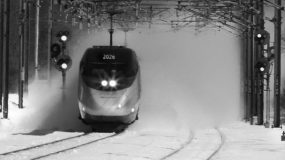 Acela emerging from snow
